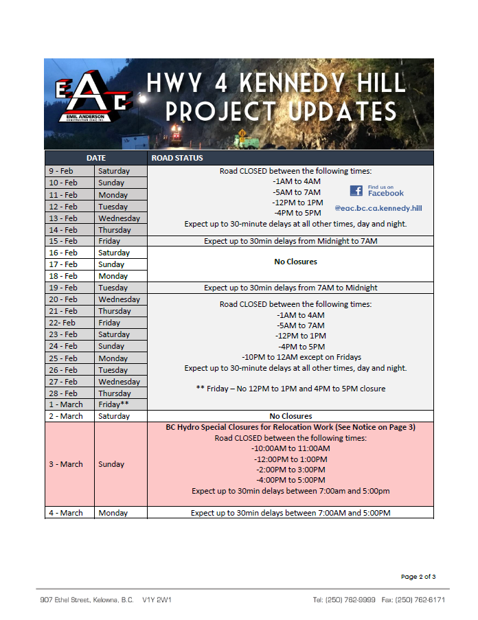 Please see attached for the Hwy 4 Kennedy Hill Traffic Update and