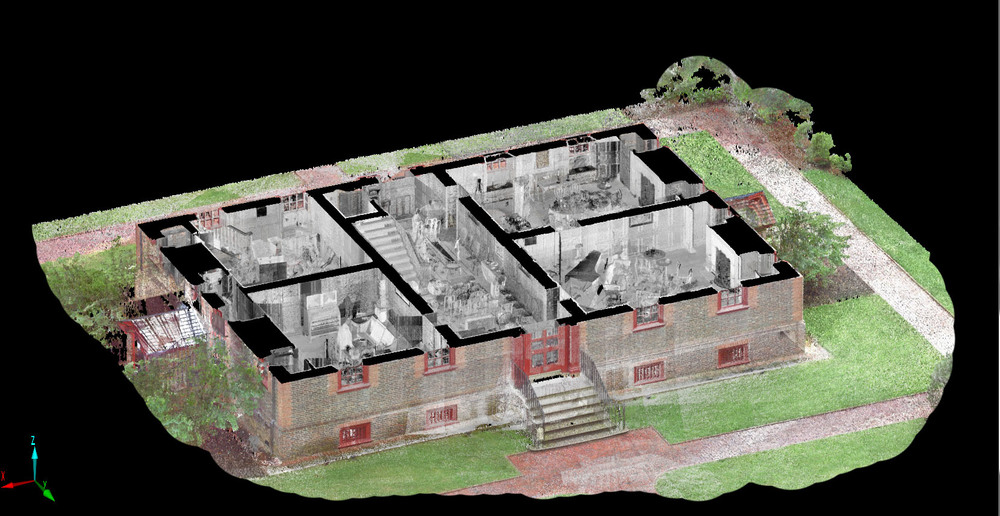 The project point cloud can be cut at any elevation or angle