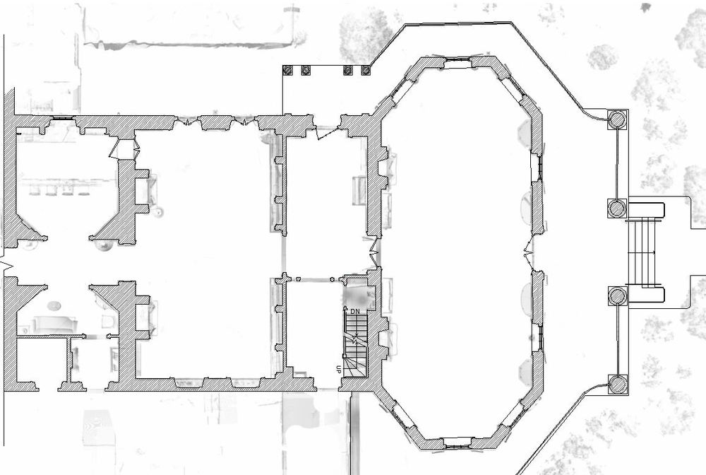 The point cloud is seen as faint lines. The darker lines and hatching are drawn over the point cloud to generate the floor plan