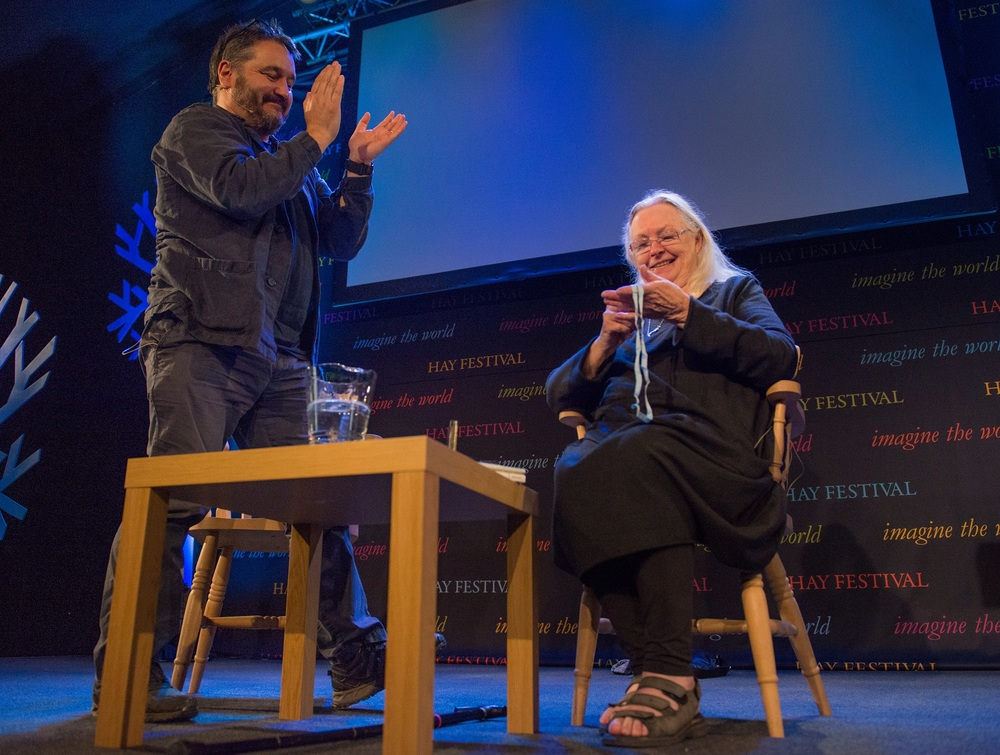 Director of Hay Festival Peter Florence presents Gillian Clarke with the Hay Festival Medal for Poetry. Photo Credit Sam Hardwick