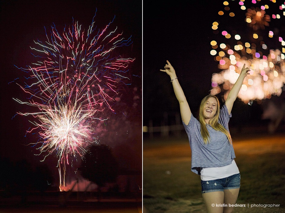 Fireworks from the show at Pirate Stadium on July 3rd, 2015 could be seen and enjoyed by many at St. Ramon's Catholic Church in Woodrow, such as Kalyn Marie above.