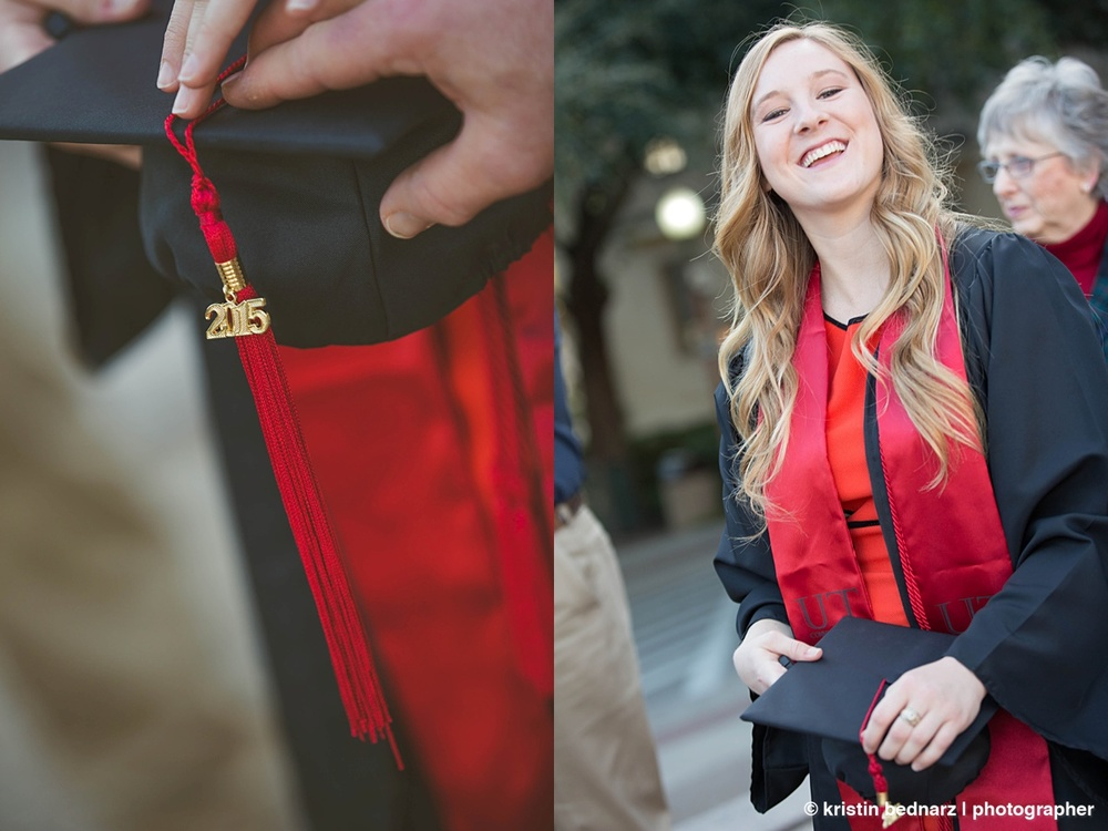 Because UT grads can wear black, Kalyn Marie wore her high school grad robes.  Very cool.