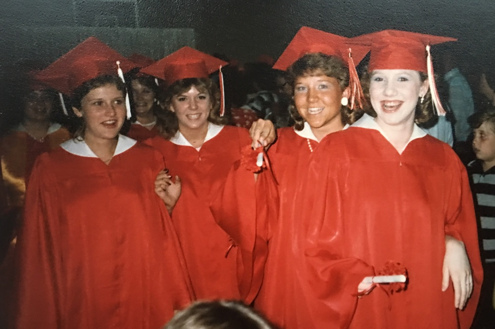 My crew, Tiffany, Shannon and Sheila. Missing Traci. I shall call this the mullet shot. We all had them!