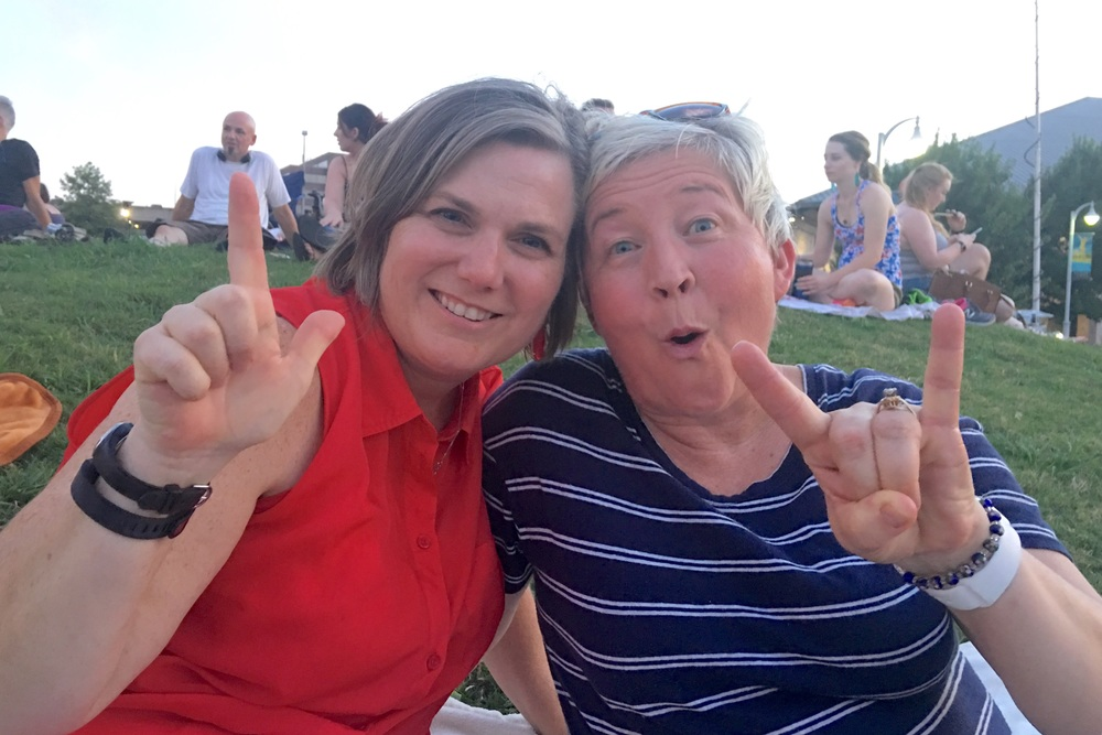 My cousin Brudgette and I in Austin enjoying the 4th. She's a TT Red Raider through and through, yet she still loves me. ❤️