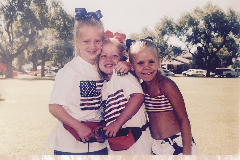 "Kalyn, Summer and Sydni, 2001 at the Slaton Park enjoying some ""fun in the sun"".  Notice the fanny packs people.  These girls are styling!"