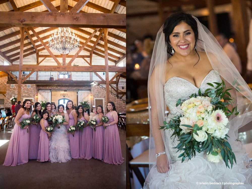 We photographed the bridesmaids inside due to the heat.  I mean, come on...rafters, pretty barn, yep.  Good decision.