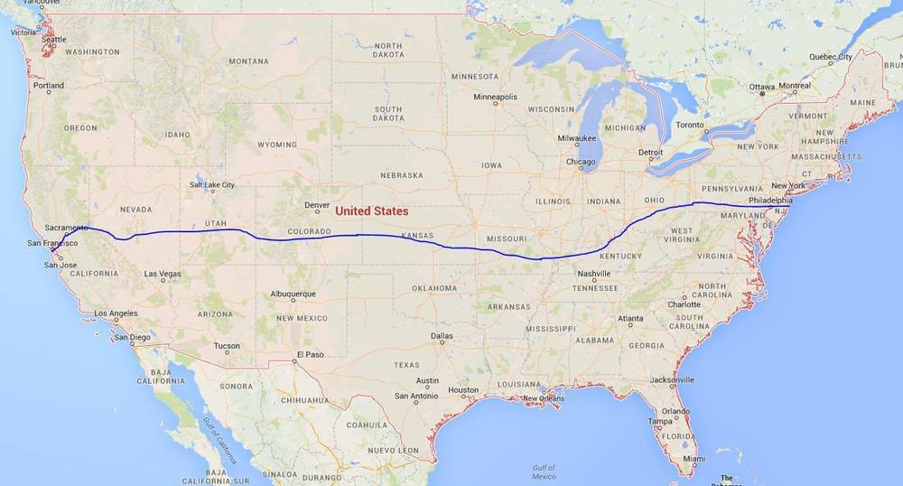 Our general route traveling East to West.