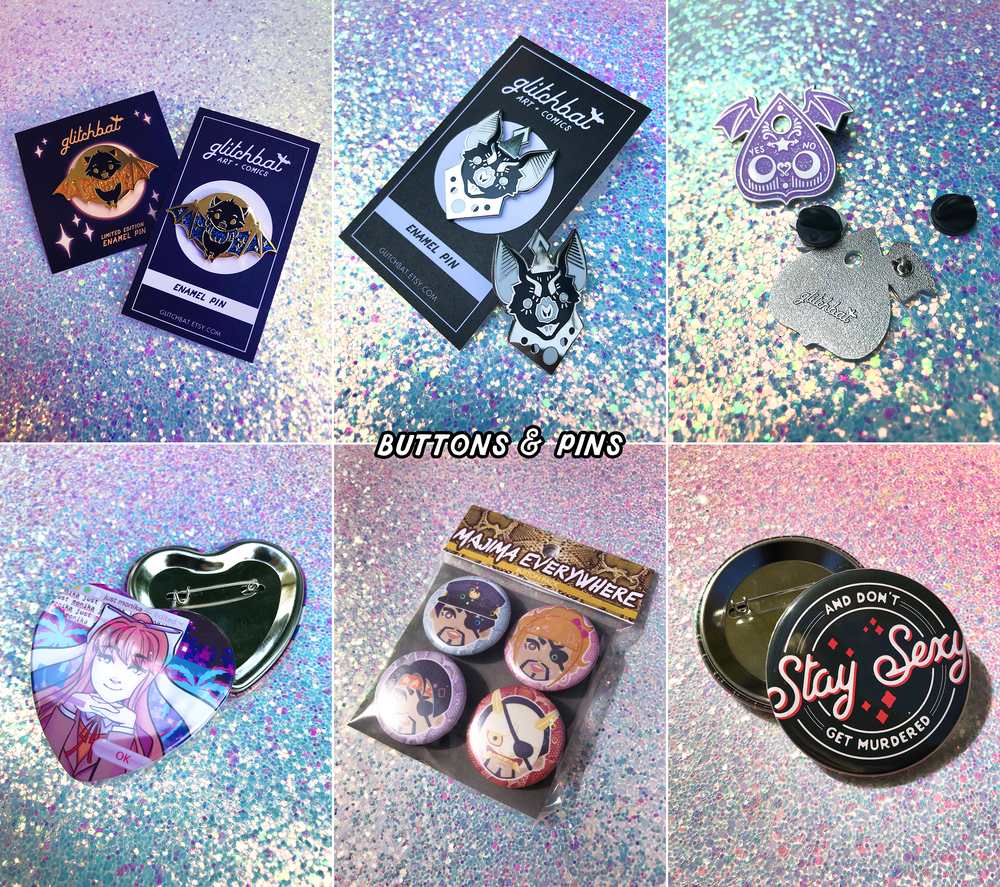 To see more buttons and pins,  click here  and  here !