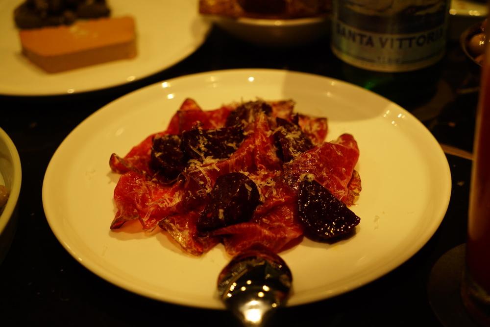 Wagyu cecina, wood fired beets, queso garrot xa.