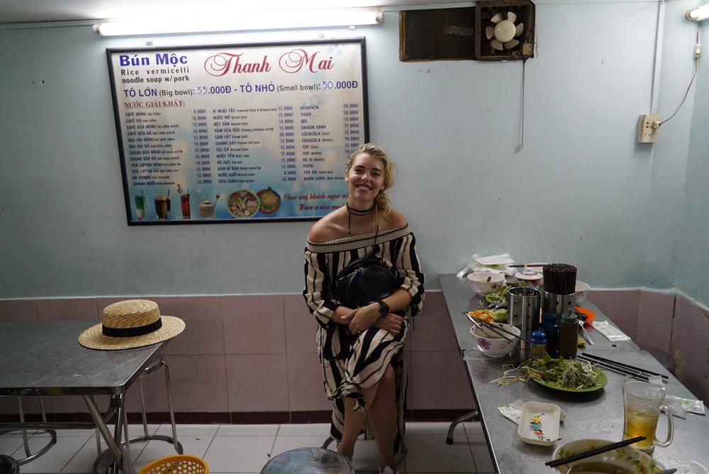 Phoebe in Bun Moc Pho Vietnam