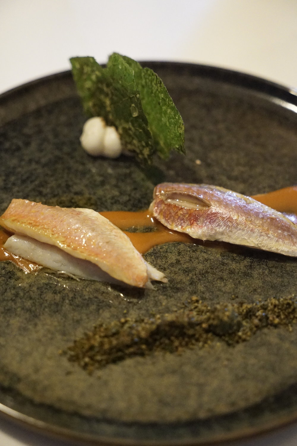 grilled red mullet with seaweed cream and apple sauce.JPG