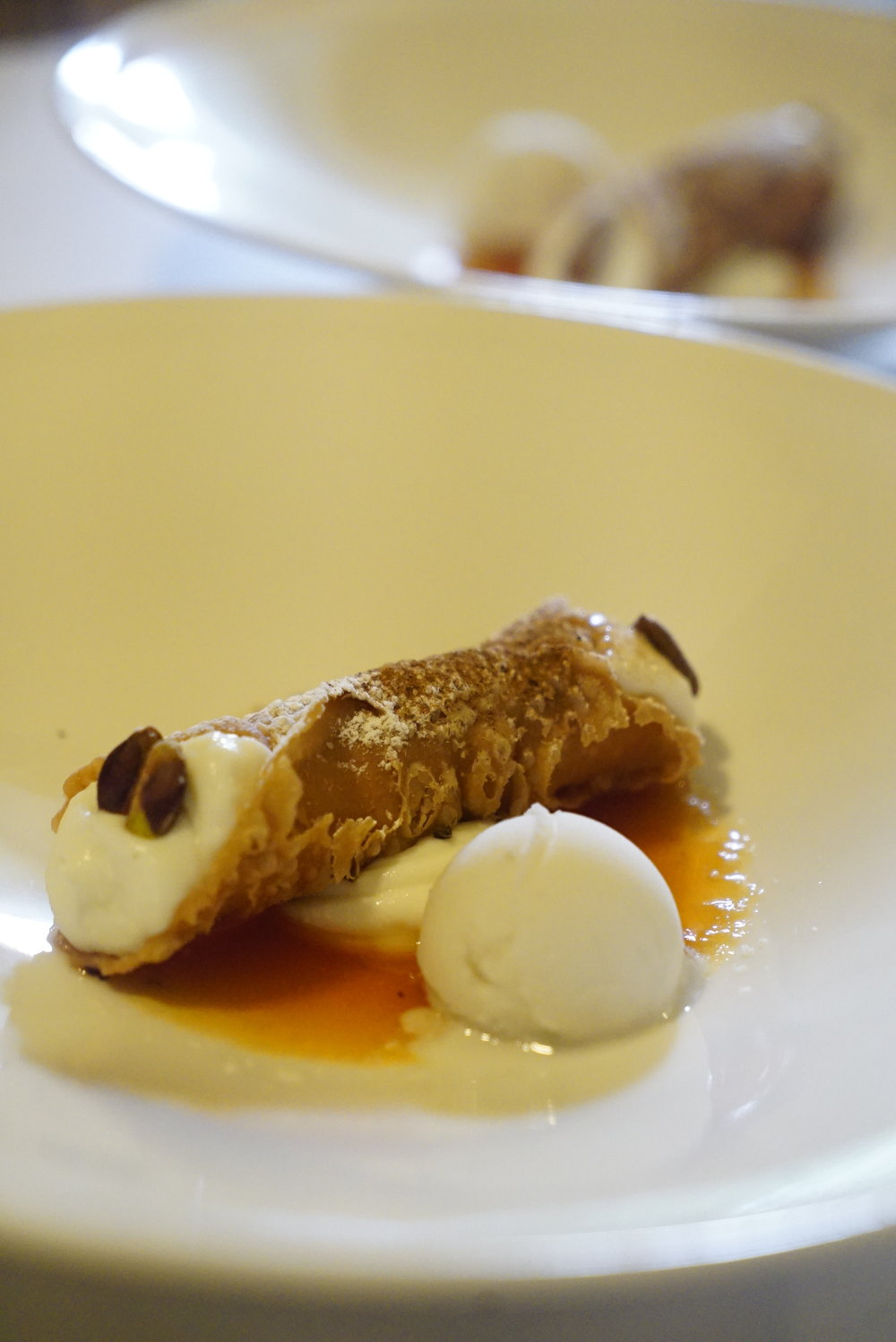 cannoli with ricotta, almond sorbet and prickly pear sauce.JPG