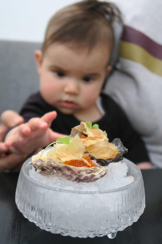 SYDNEY ROCK OYSTER yuzu sake-bonito granita, baby shiso, flying fish roe.JPG