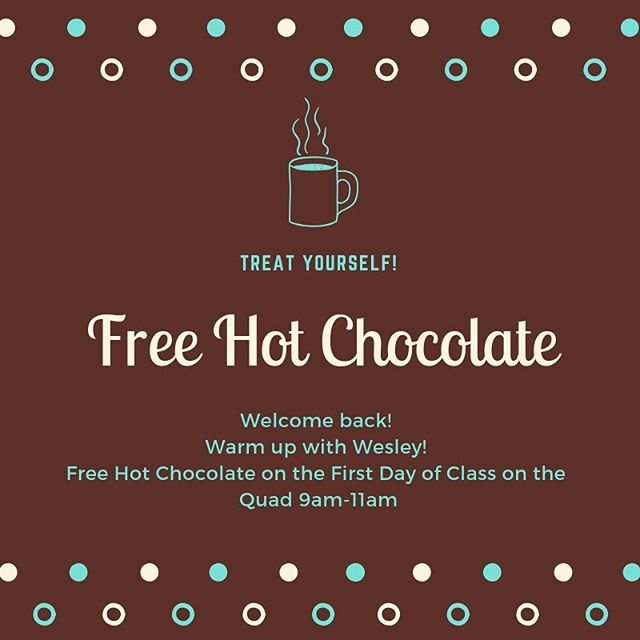 We're excited for a new semester! We will be out on the quad tomorrow morning passing out hot chocolate to warm everybody up! We even have whipped cream to top it off!! Come by and say hi! Feel free to bring your own mug to help reduce our waste! #unca #uncavl #ashevillewesley