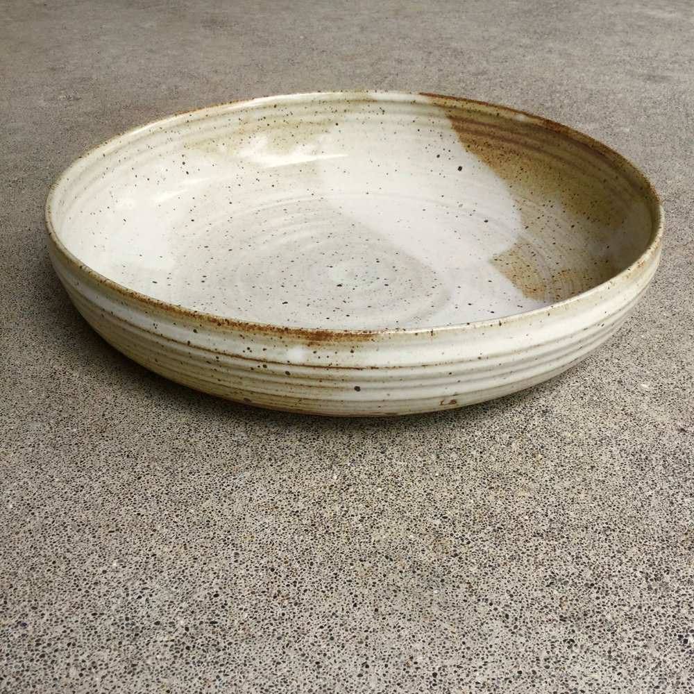 "Large Serving Bowl  11-12"" wide, 2-3"" deep, $140 each Glossy speckled cream caramel glaze shown"