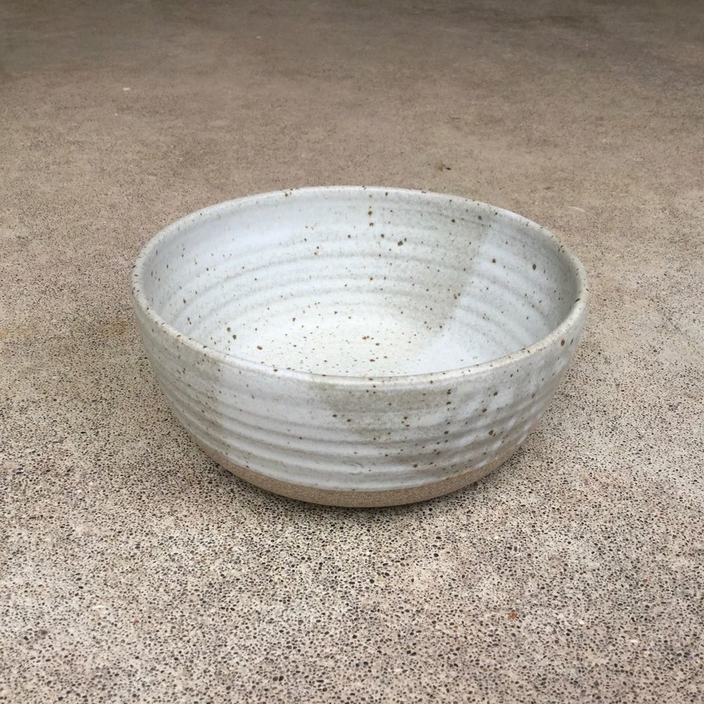"Soup/Noodle Bowl  7"" wide, 3"" deep, $39 each Matte pale speckled grey glaze shown"