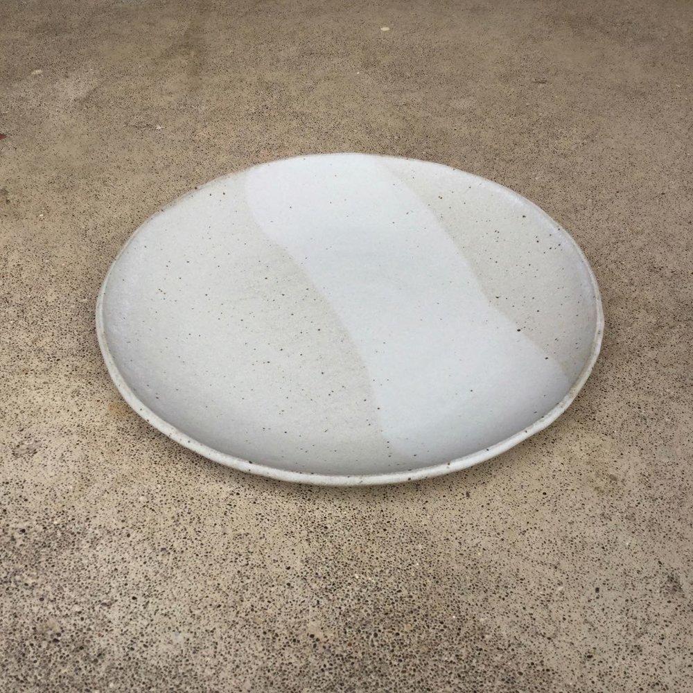 "Dinner Plate  10.5"" diameter, $48 each Matte pale speckled grey glaze shown"