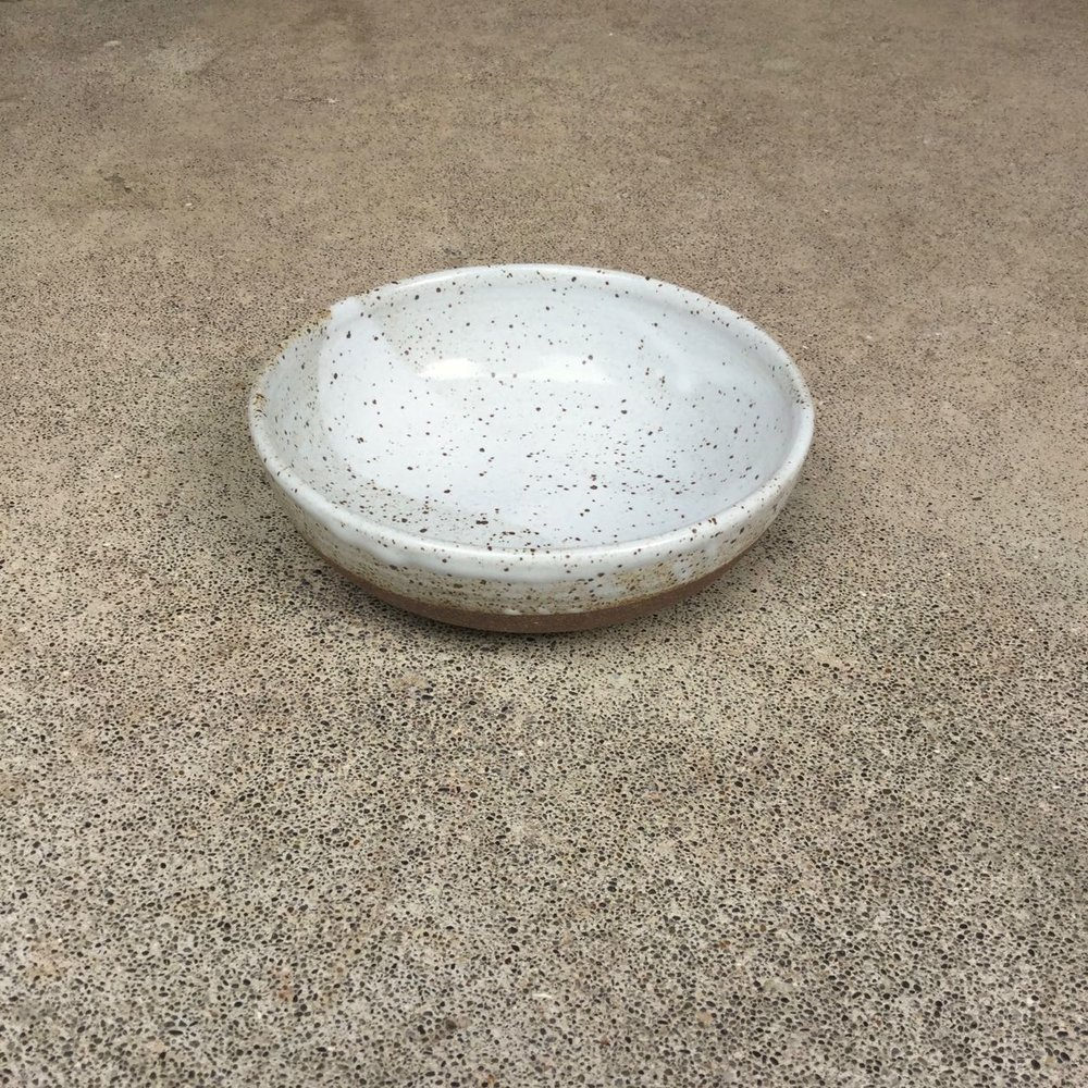 "Oatmeal/Yoghurt Bowl  5-6"" wide, 2-2.5"" deep, $26 each Glossy speckled off-white glaze shown"