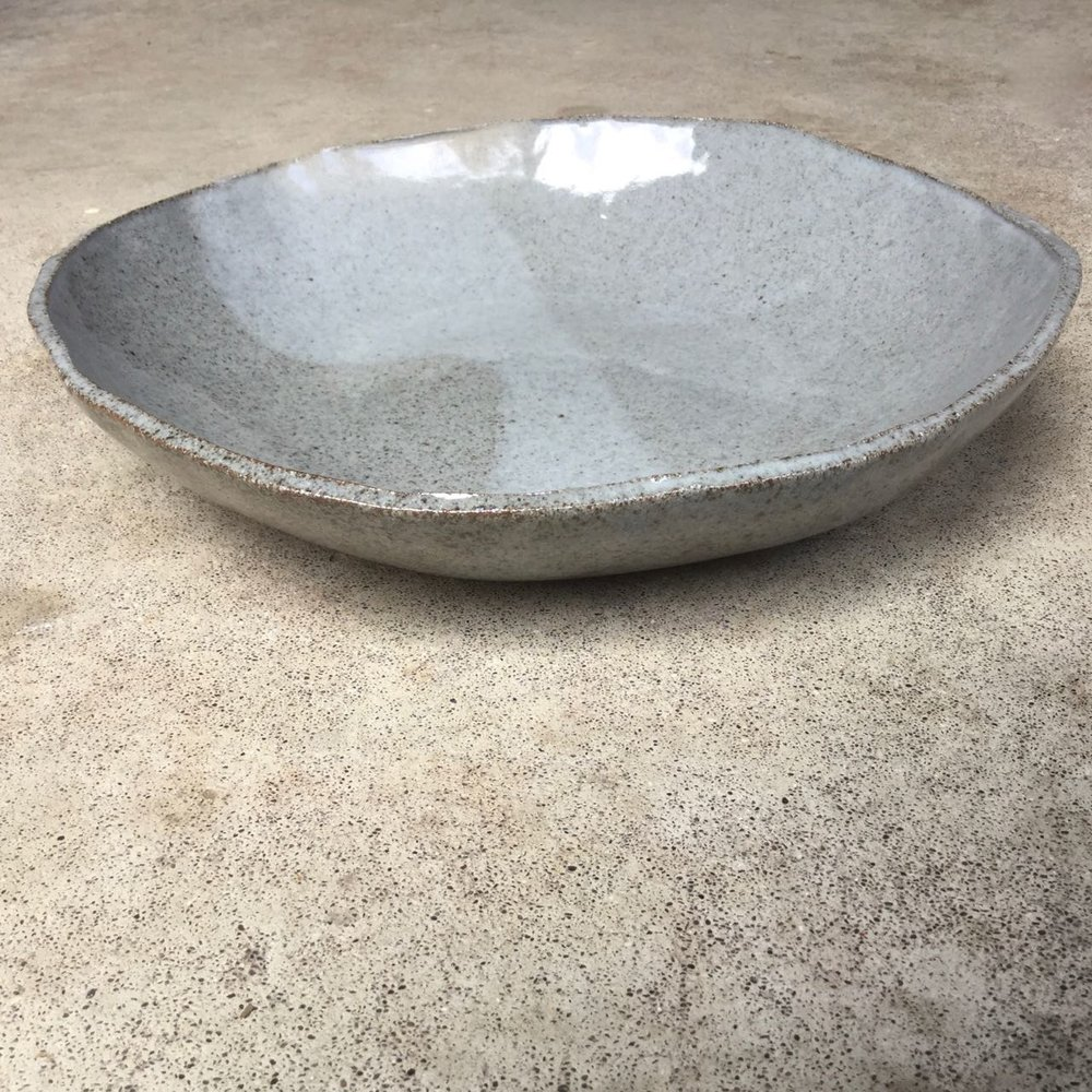 "Crater Bowl  12-14"" wide, $140 each Glossy grey glaze shown"
