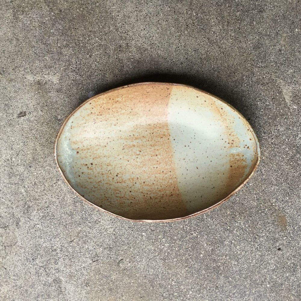 "Oval Bowl  11"" x 7"" and about 1.5-2"" deep, $36 each Matte speckled rusty tan glaze shown"