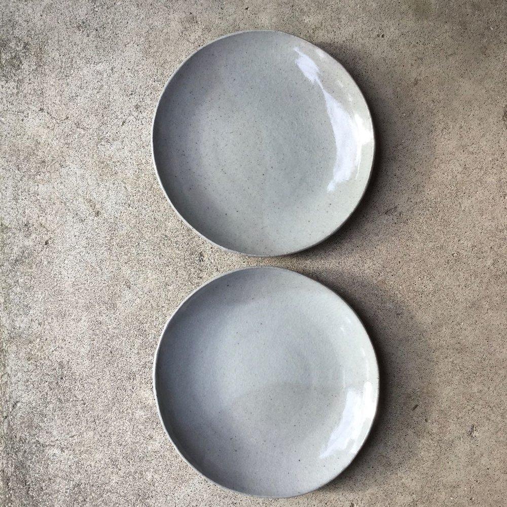 497 Pair glossy grey dinner plates top.jpg