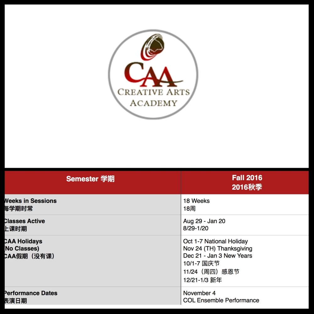 CAA FEES FALL '16