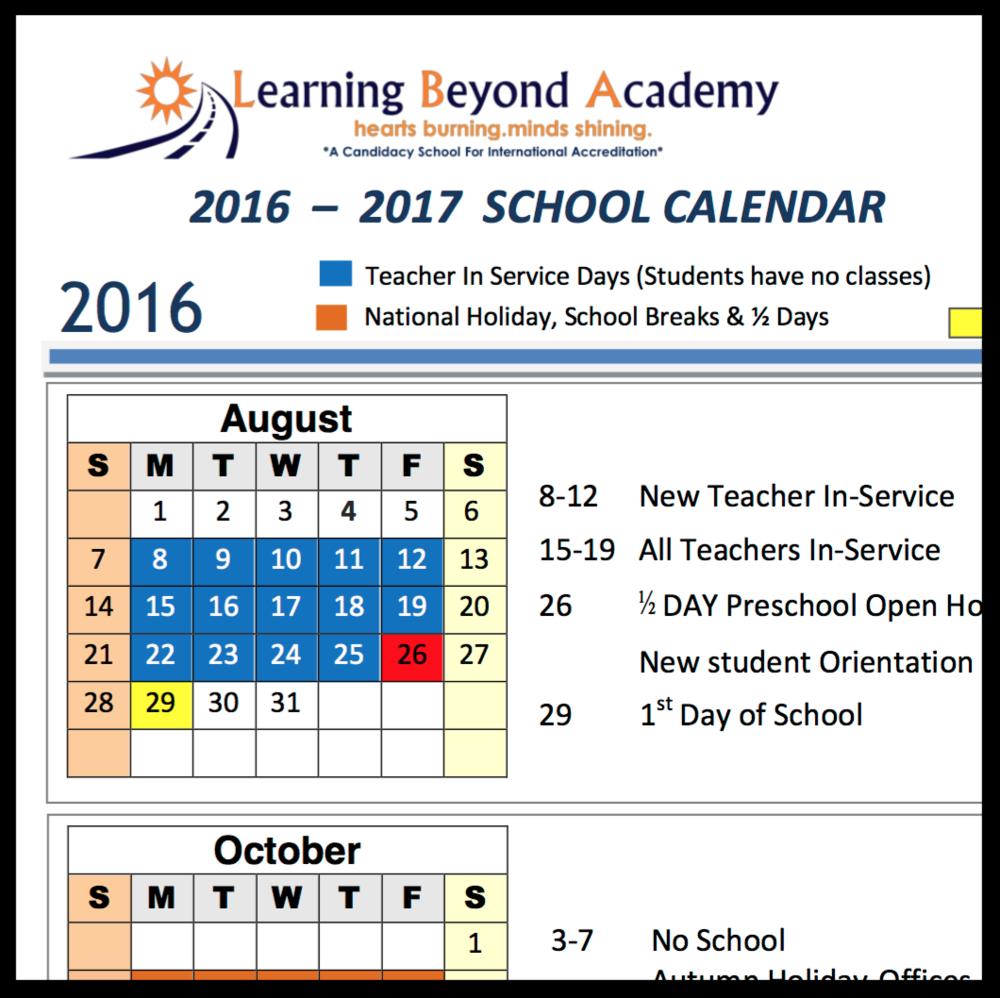 2016-2017School Calendar