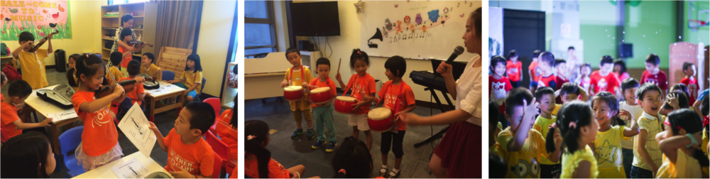 2.  MUSIC 音乐   Enjoy the fun of music through rhythmic percussion playing, instruments exposure, singing & fun music theory.  通过打击乐器、乐器体验、唱歌和有趣的音乐理论享受音乐