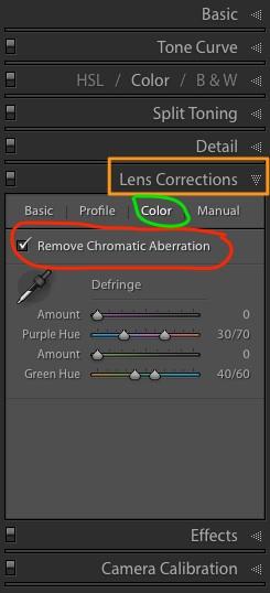 Lens Corrections tab in Lightroom Develop module