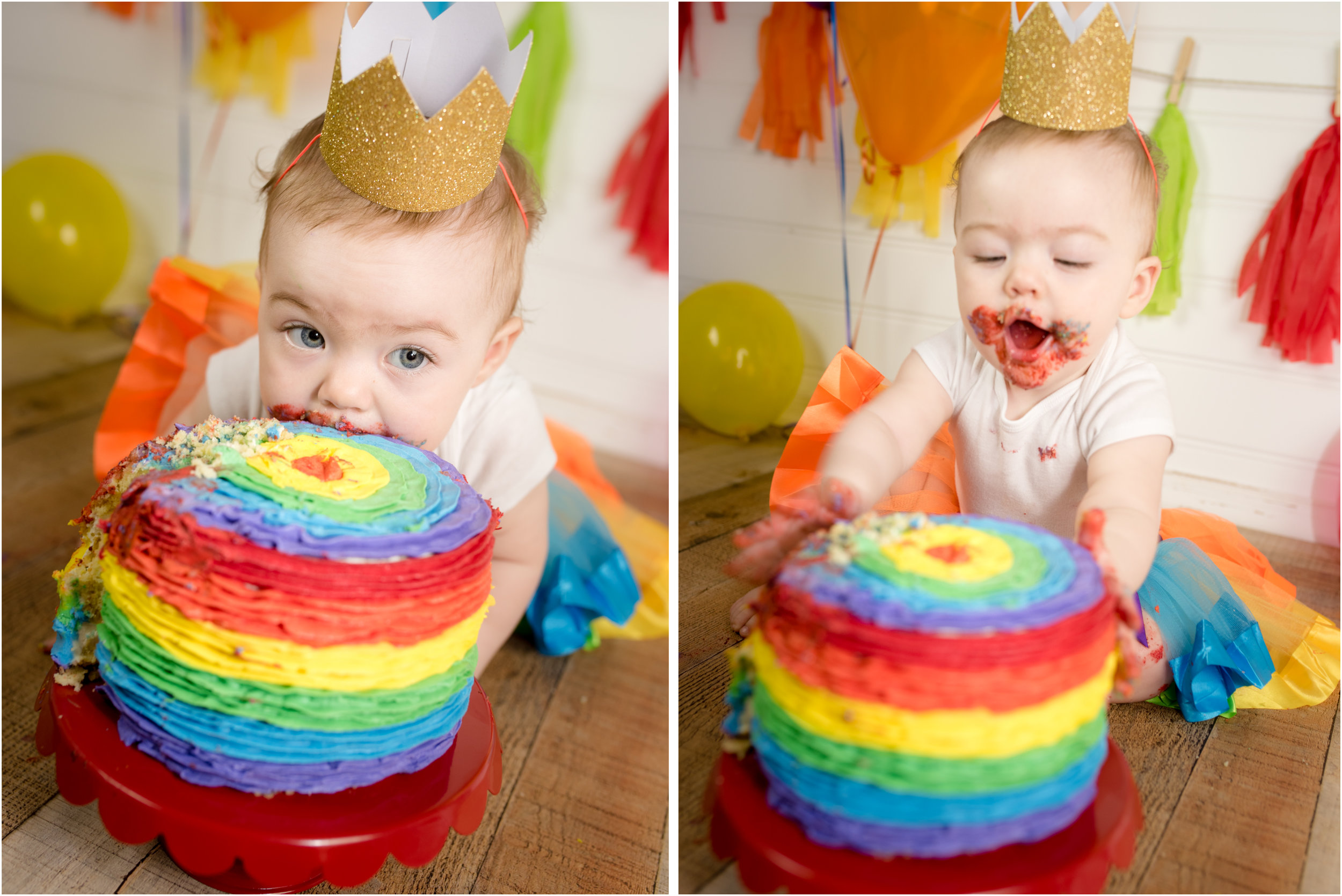 Mommys Rainbow Sweetheart A Colorful Cake Smash Sweet Memories