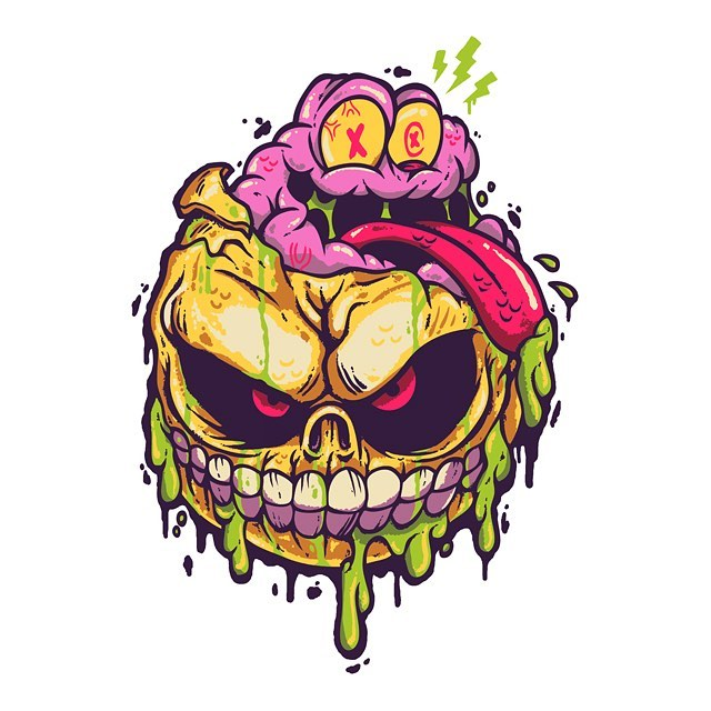 Skull face for @frightrags official @madballsx release. I don't draw very often. I don't think it's much of a strong suit for me. My style is very bold and cartoonie. I can't really draw scenes or full on actions. More of a straight forward character driven style. Madballs have been a massive source of inspiration of mine for many many years now. It was a complete honor to be asked, much less have 2 pieces see the light of day. I'll be posting the 2nd one later this afternoon. In the meantime head over to fright-rags.com and get you some grotesque goodies.