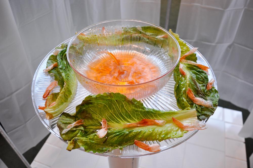 "2013 , shellacked boiled shrimp and lettuce, tiles, caulk, vinyl curtains,½"" conduit, PVC, water pump, microcontroller"