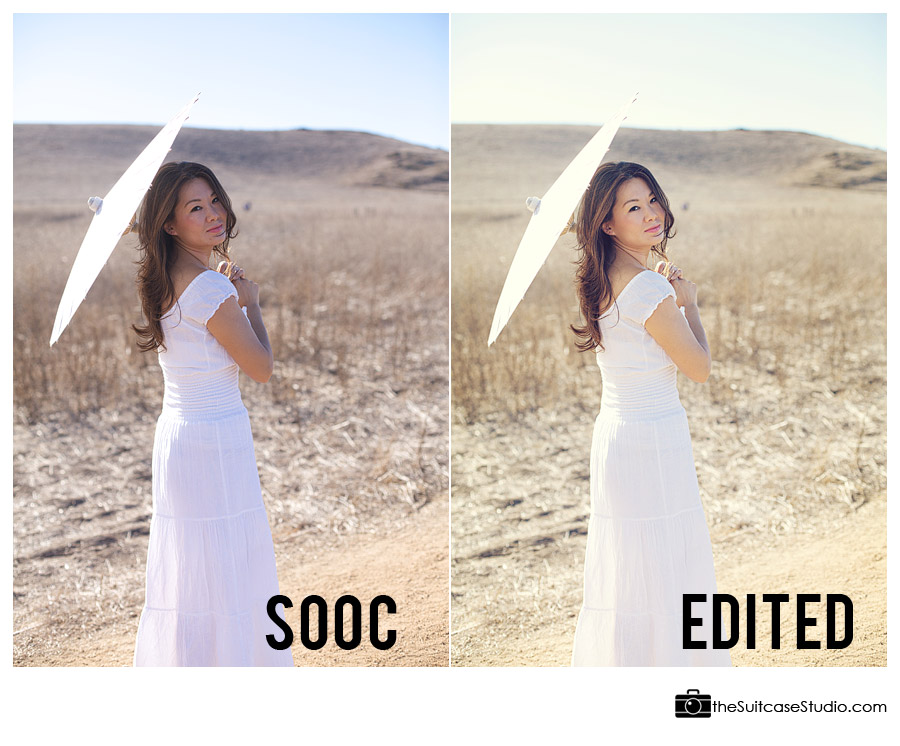 Comparison of Edited vs SOOC Image - The Suitcase Studio