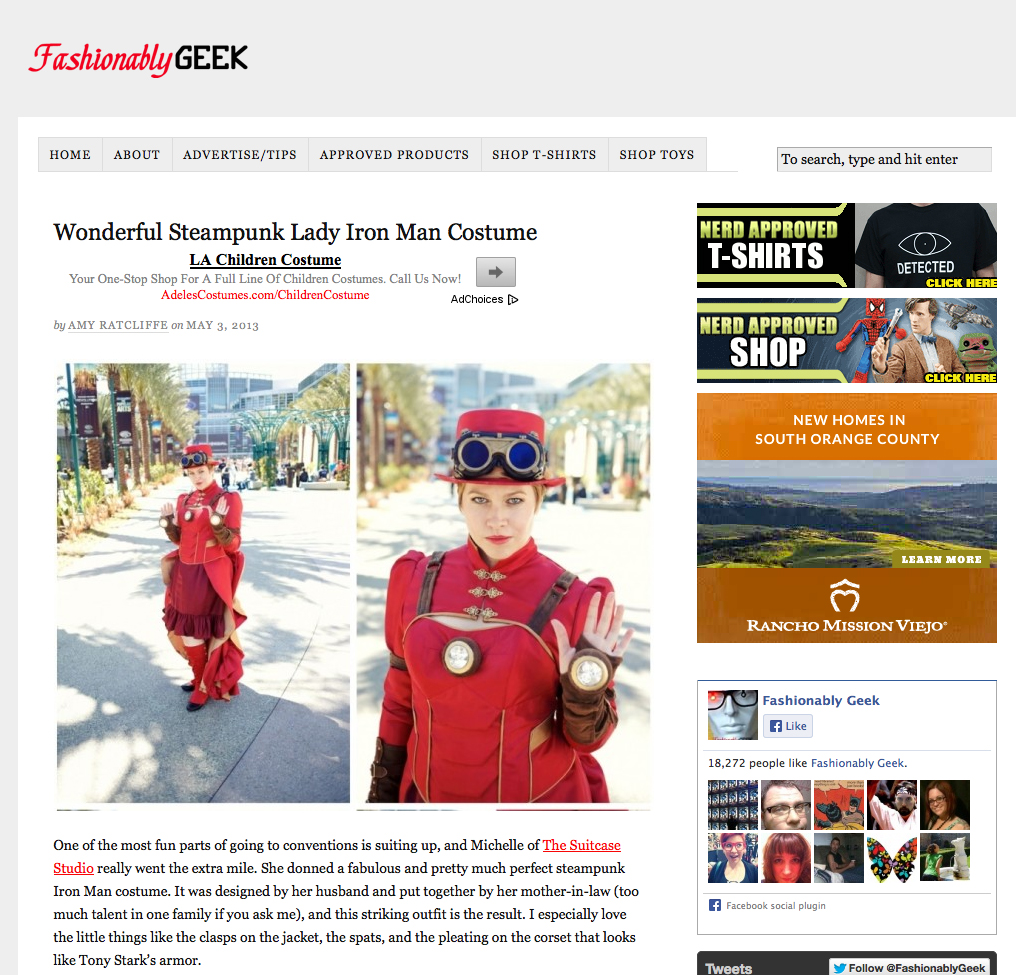 The Suitcase Studio featured on Fashionably Geek as Cosplay Lady Iron Man