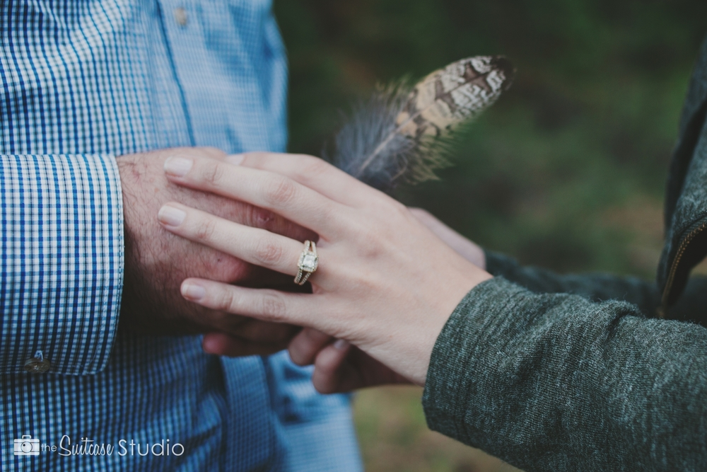 Bend, Oregon Lifestyle Wedding Photographer -  The Suitcase Studio - Engagement Photos at Big Eddy - Owl Feather and Engagement Ring