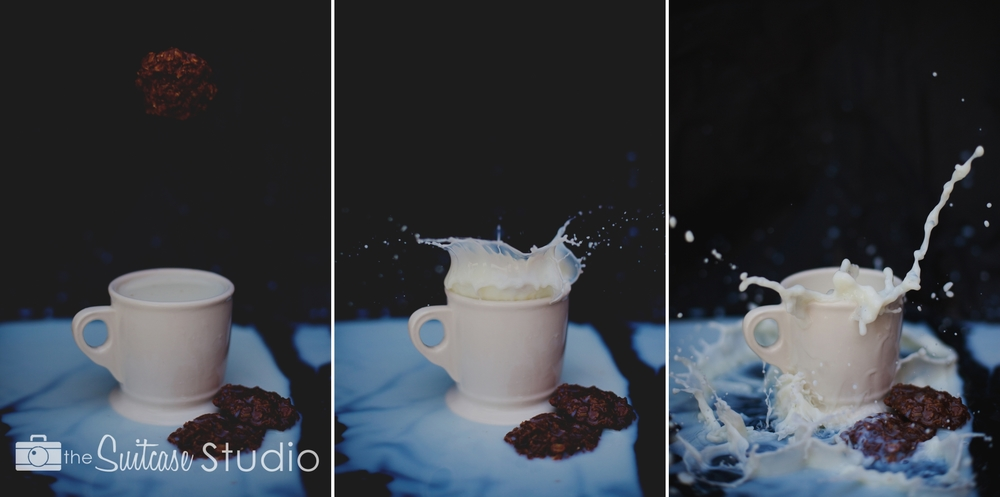 how to take milk splash photos - by The Suitcase Studio - marketing photos for No Bake Cookie Co in Bend, Oregon