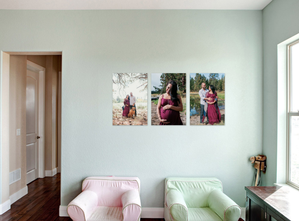 "A sample canvas wall art display, showcasing a few of their favorite images. My clients can ""try before they buy"" to ensure their wall art is the perfect fit for their home."