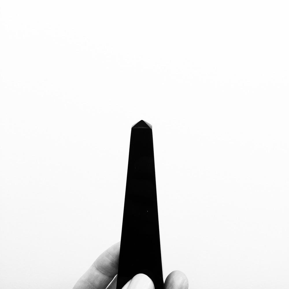 Holding my obsidian obelisk.