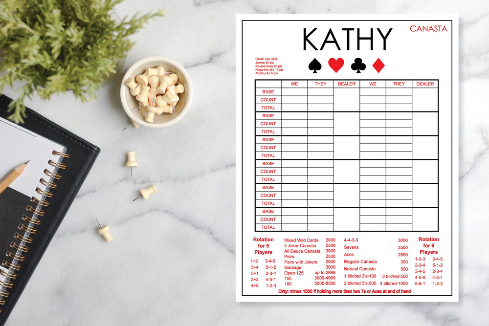 Large Canasta Score Pad A Little Card Company