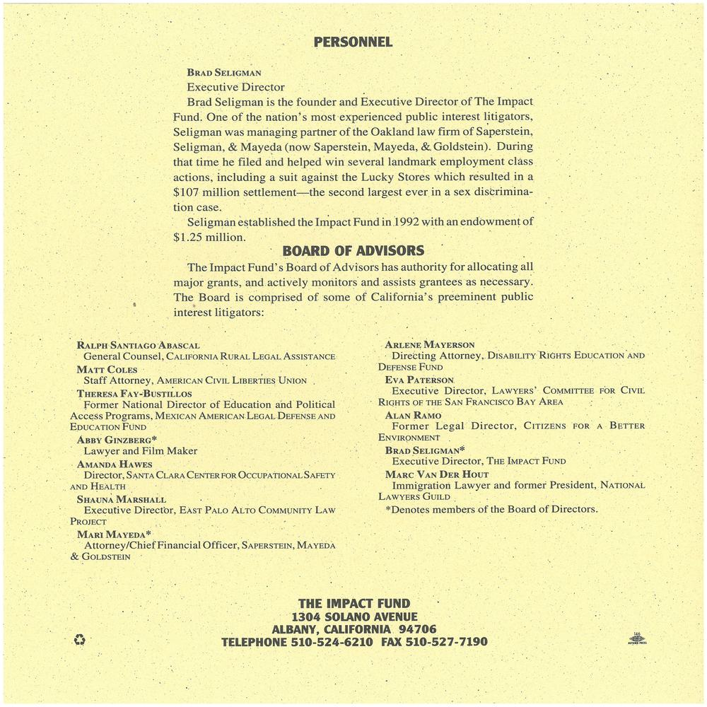 The Back Cover of the 1993 Annual Report lists the first Board