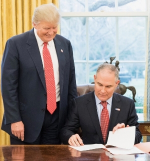 The EPA, under the Obama administration, proposed to ban chlorpyrifos in November 2015, but EPA Administrator Scott Pruitt (right) reversed that decision last March.