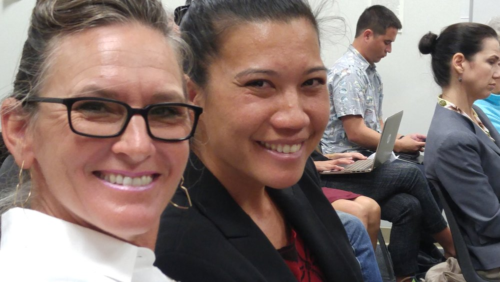 Two powerful testifiers  Tina Wildberger,  a small business owner from Maui and  Keani Rawlins-Fernandez , Molokai lawyer, mother and safe food activist at the hearing on SB3095--the pesticide regulation bill.