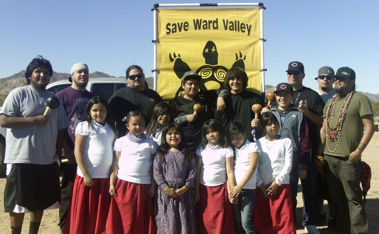 February, 2011: Cahuilla Bird Singers and Little Mojave Dancers (above) and others celebrate 13 nuclear-free years in Ward Valley, as they pray for the land and all life at their annual spring gathering at Ward Valley.