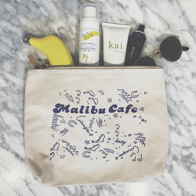 Our signature @themalibucafe bags are perfect to take on the go. Just the perfect size to fit all your traveling necessities. Stop by and visit us to get your own!