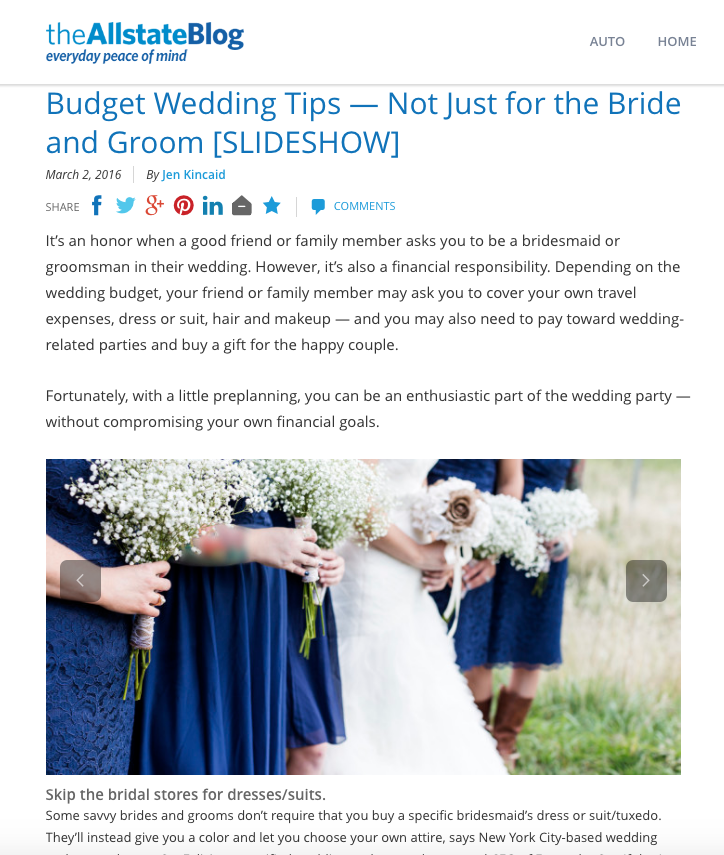 Budget Wedding Tips - Not Just for the Bride and Groom,    the Allstate Blog