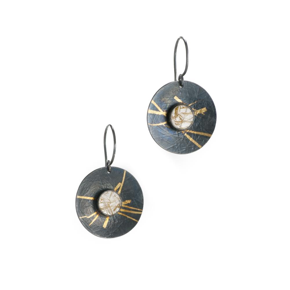 Keum-boo Rutilated Quartz Disc Earrings