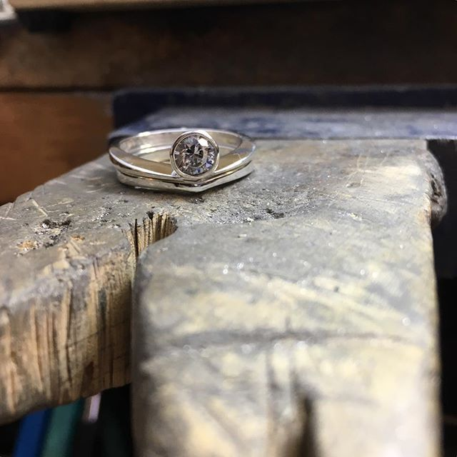 New engagement ring set on the bench. #laurakieferdesigns #engagementrings #denvermade