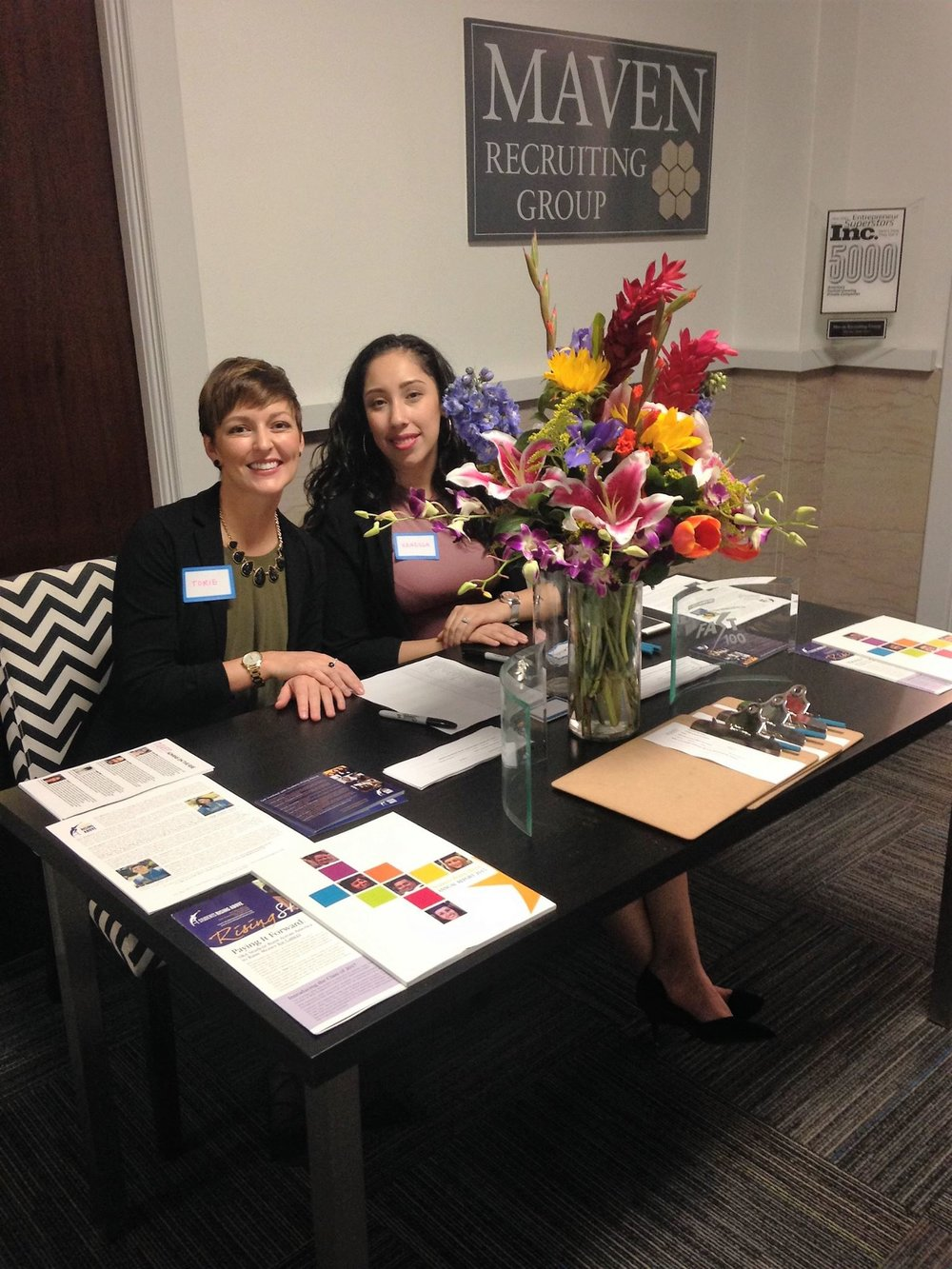 Manning the front desk at our Admins on the Rise event