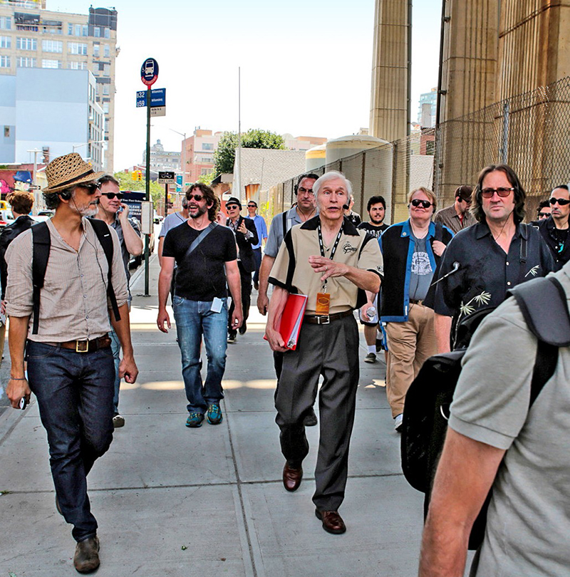 Fred Gretsch (at center, with red binder) leading a group of Gretsch drummers and history buffs on a walking tour of historic Gretsch locations in Brooklyn.