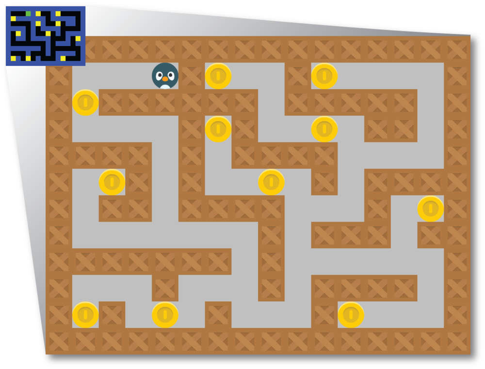 When converting from an image to a level in GameMaker: Studio, each object is represented by a different color pixel in the image. In this case, blue represents the walls, green represents the player, and yellow represents coins.